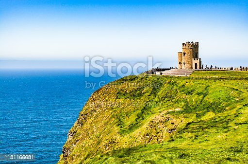 Ireland - May 26, 2015: O'Brien's Tower, marks the highest point of the Cliffs of Moher, on the western Atlantic Ocean coastline of Ireland in the Burren region of County Clare