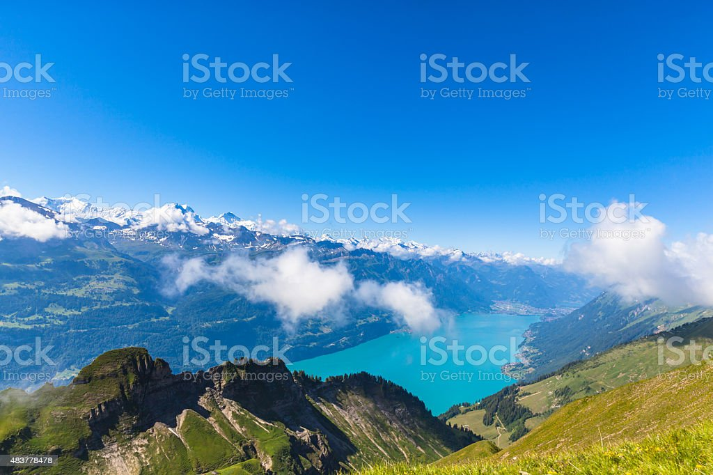 Brienzer lake and the alps stock photo