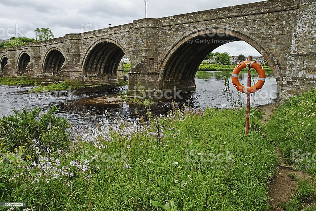 Brig of Dee and Lifebelt stock photo