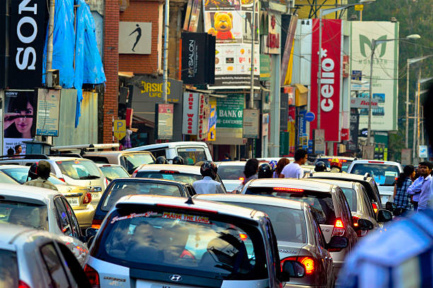 Brigade Road, Bangalore Bangalore, India - March 29, 2013: Traffic at brigade road, it is one of the busiest shopping areas of Bangalore bangalore stock pictures, royalty-free photos & images