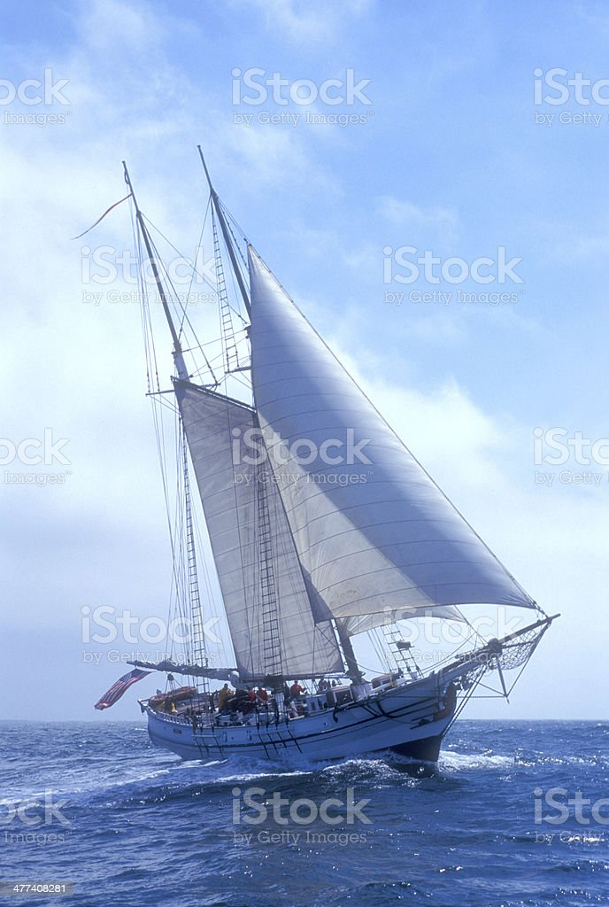 Brigantine Sailing on the High Seas royalty-free stock photo