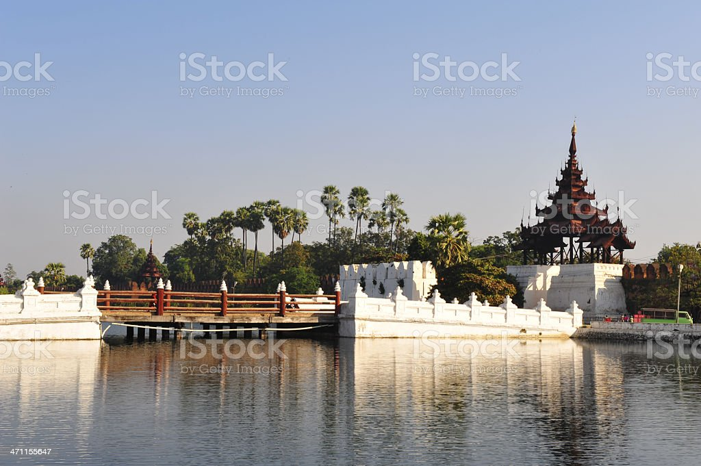 brigde to Mandalay palace in Myanmar stock photo