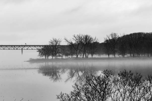 Brige to a Fog Covered Park stock photo