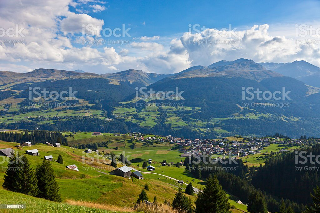 Brigels in the Surselva Region in Graubünden stock photo