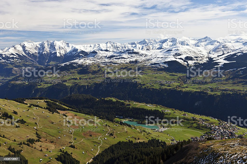 Brigels, Obersaxen and Mountains stock photo
