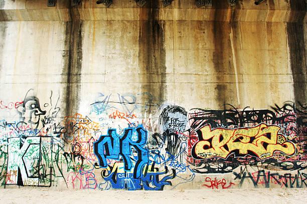Brigh Colored Graffiti Wall stock photo