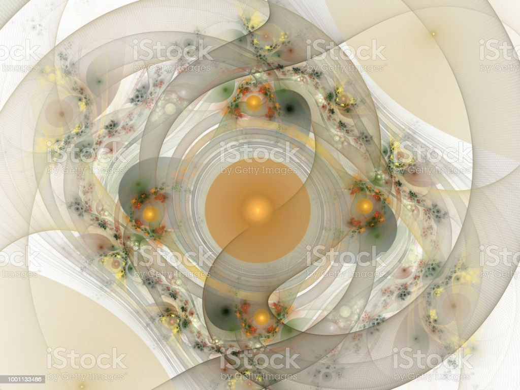 Bright abstract background Tape with circles, curls and flowers. Beautiful background for album, poster, booklet. Fractal Art - digital graphics for creative design. Elegant Ribbon Ornament stock photo