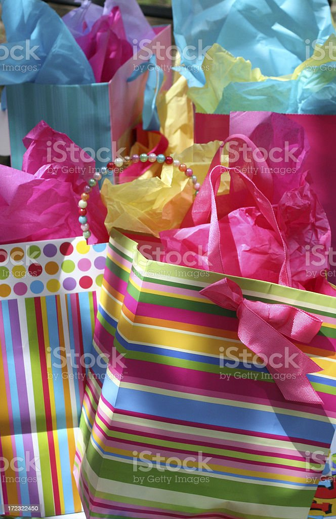 Bright and Colorful Gift Bags royalty-free stock photo