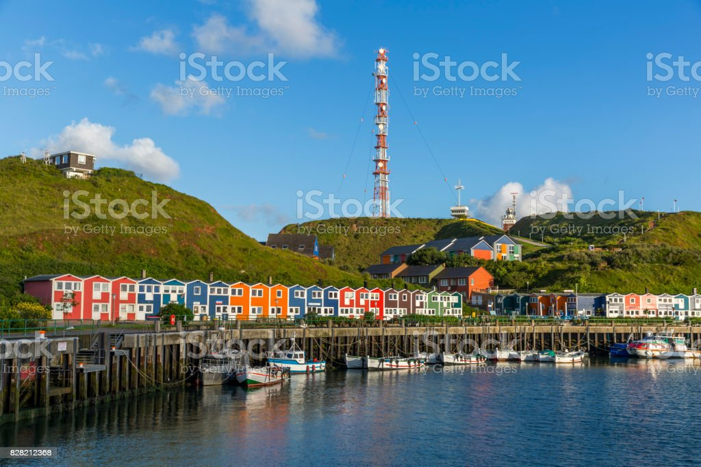 Bright and colorful houses on the island of Helgoland stock photo