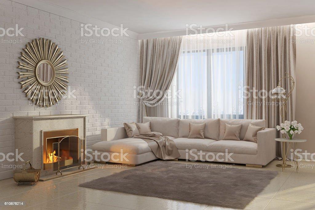 foto de bright and cozy living room with fireplace and mirror e mais