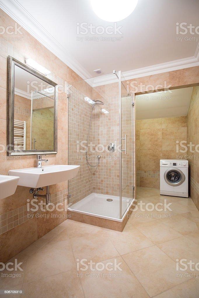 Bright and spacious bathroom stock photo