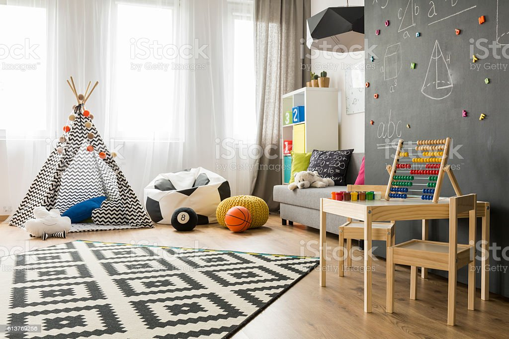 Bright and spacious child room idea stock photo