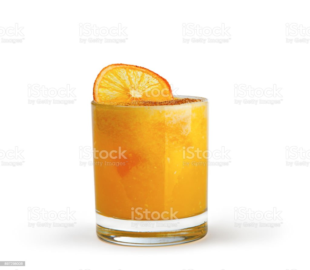 A bright and sunny cocktail on a white background. stock photo