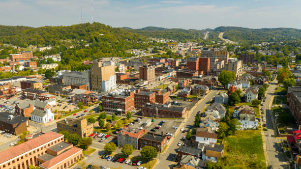 Bright and Sunny Day Aerial View Over Clarksburg West Virginia stock photo