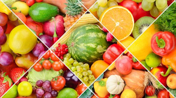 Heller Hintergrund aus der Obst-und Gemüsesammlung. Foto-Collage. – Foto