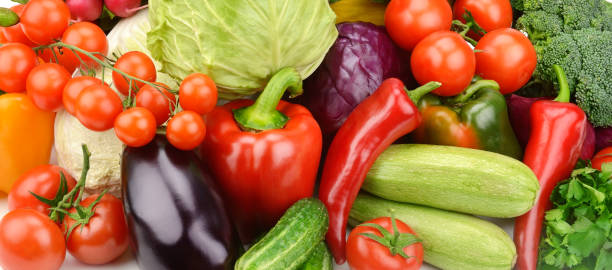 セット野菜の明るい背景 - ローフード ストックフォトと画像