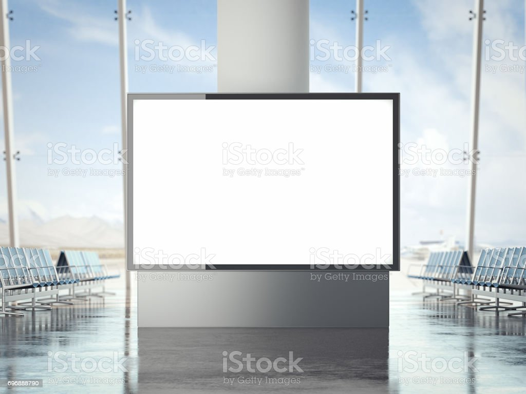Bright banner in the airport. 3d rendering stock photo