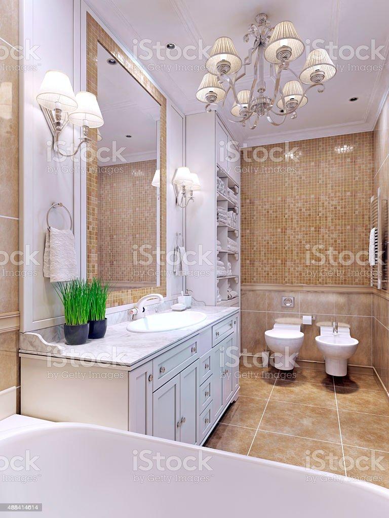 Bright bathroom classic style stock photo