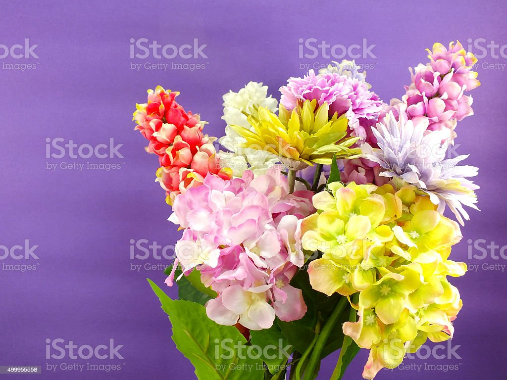 Bright Beautiful Colorful Plastic Flower Bouquet Stock Photo More