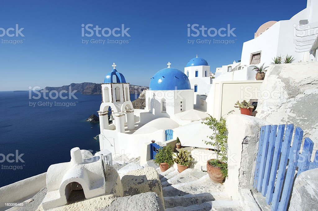 Bright Beautiful Morning in Greek Island Santorini Caldera royalty-free stock photo