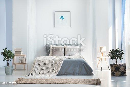 istock Bright bedroom interior with plants 861457278