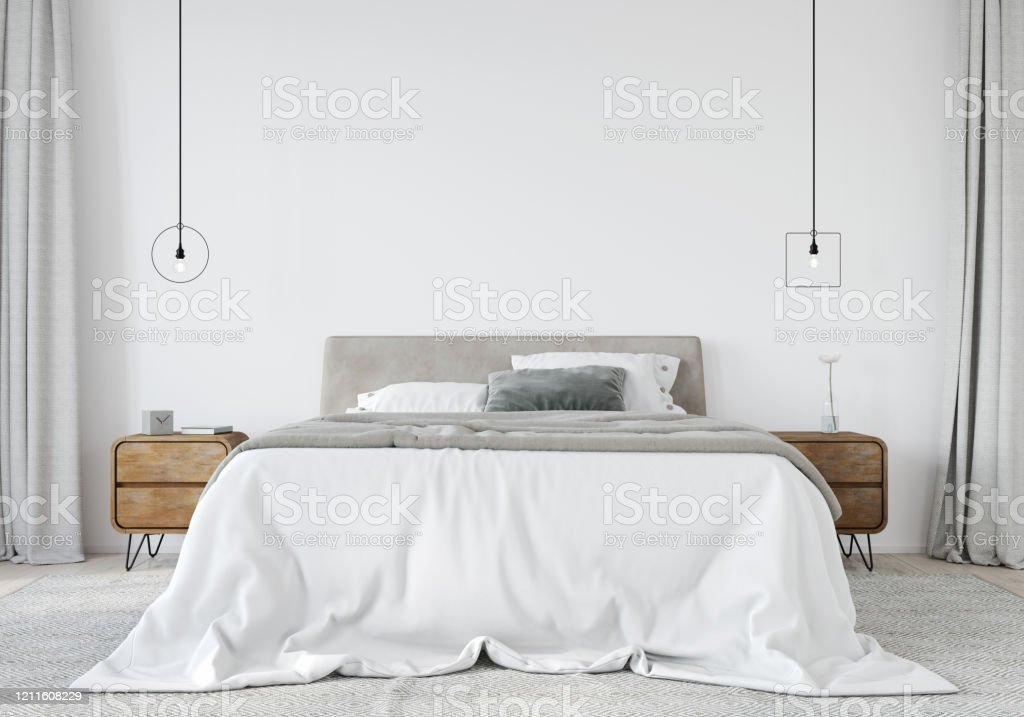 Bright bedroom with a wooden bedside table and a stylish chandeliers Bright bedroom with a bed with a soft headboard, a wooden bedside table and a stylish chandeliers. Loft style / 3D illustration, 3d render Apartment Stock Photo