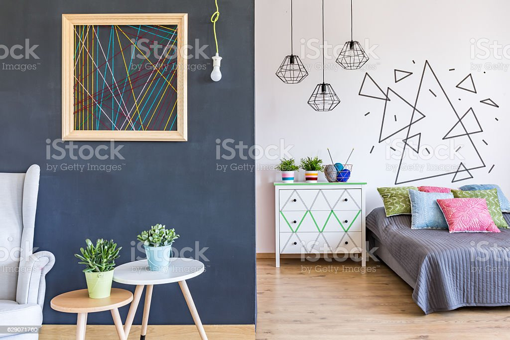 Bright bedroom with living room stock photo