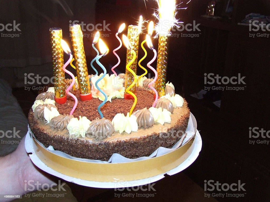 Bright birthday candles stock photo
