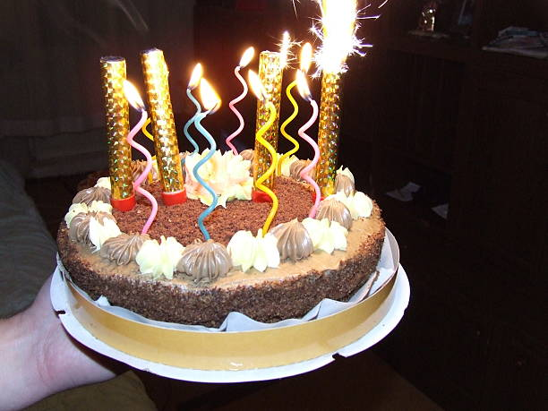 Bright birthday candles stock photo