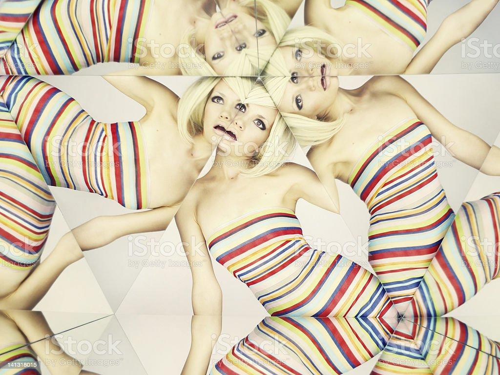 Bright blonde in kaleidoscope stock photo