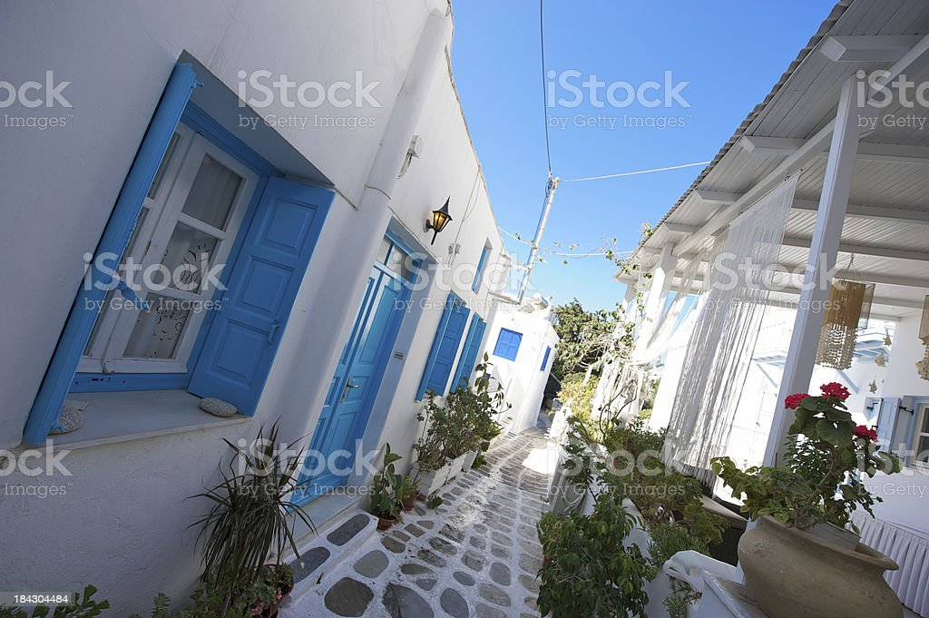 Bright Blue And White Little Greek Island Walkway Stock Photo More