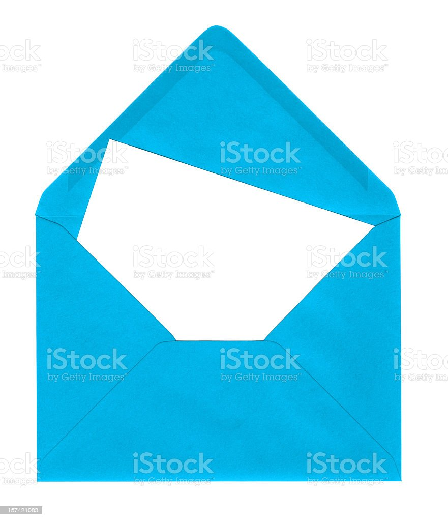 Bright blue envelope with card royalty-free stock photo