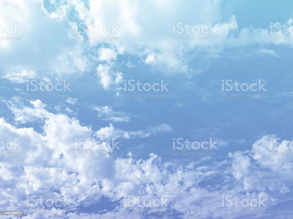 Bright blue gradient filter sky and clouds for background foto royalty-free