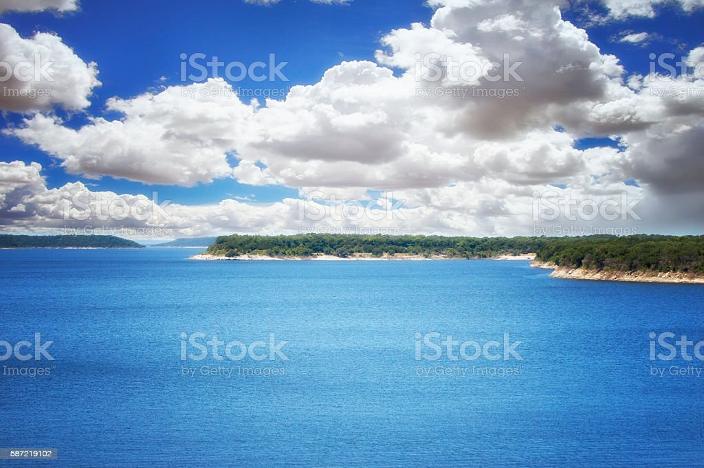 Bright Blue Lake stock photo