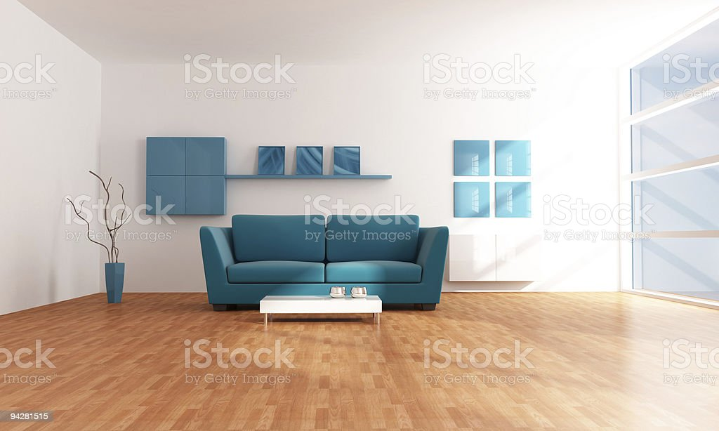 bright blue modern  lounge royalty-free stock photo