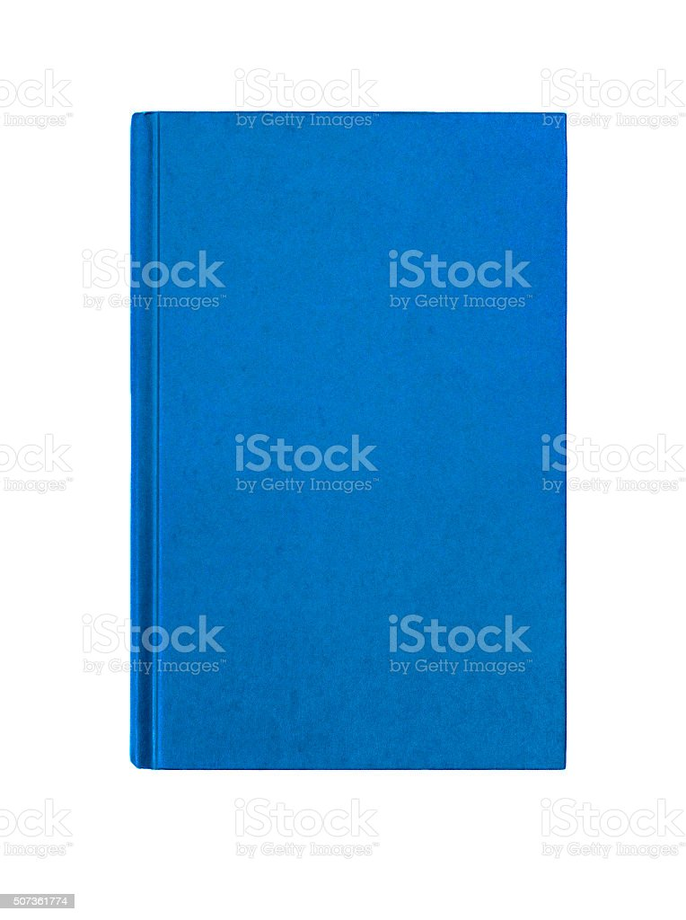 Bright  blue plain hardcover book front cover upright vertical stock photo