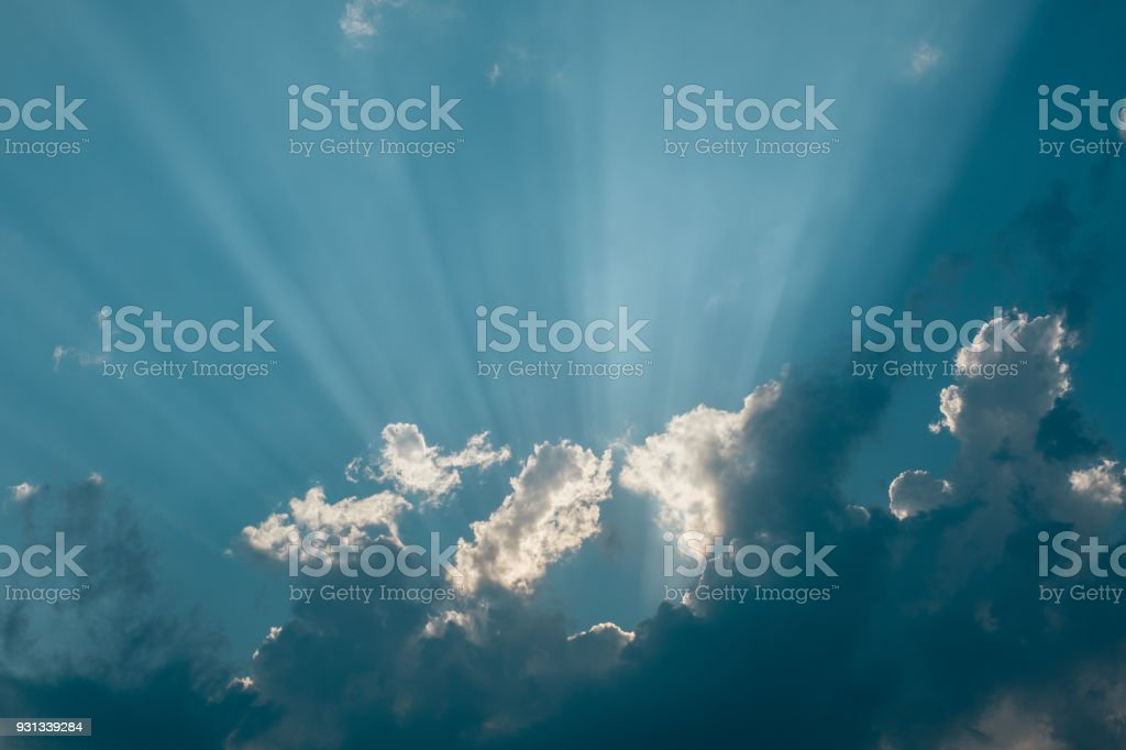 Bright blue sky with clouds stock photo