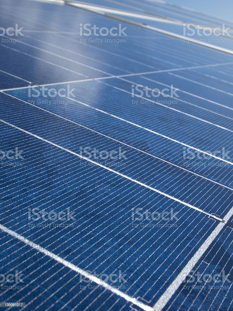 Bright blue solar panel for photovoltaic energy production royalty-free stock photo