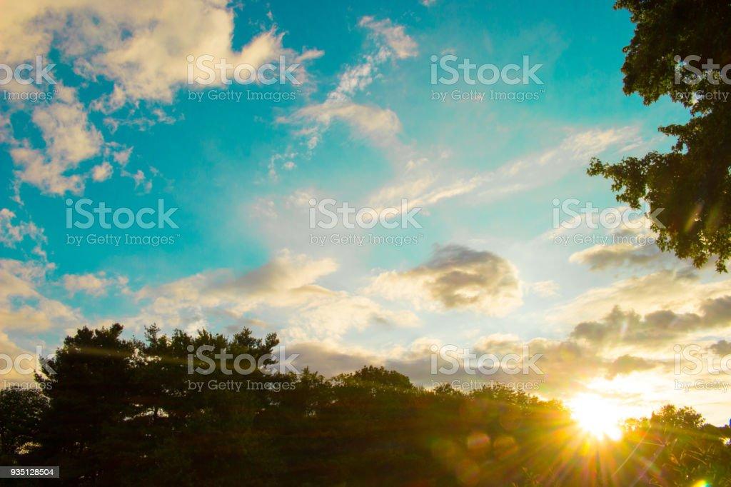 Bright Blue Sunset Sky stock photo