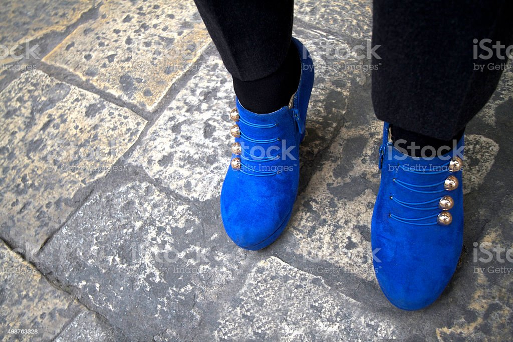 best service buy good new images of Bright Blue Womens Ankle Boots Gold Buttons Cobbled ...