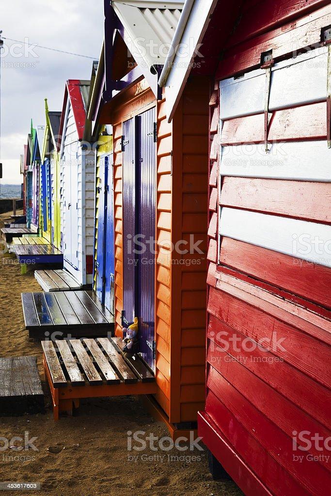 Bright Brighton bathing boxes royalty-free stock photo