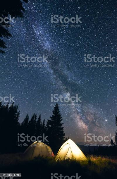 Photo of Bright campfire and tents in night forest.
