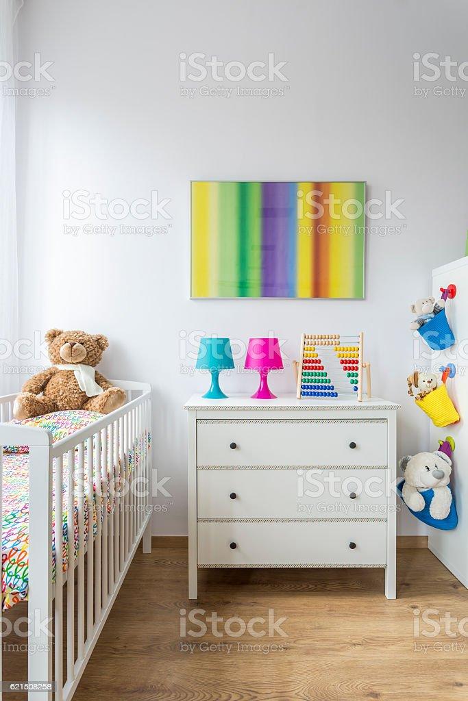 Bright child room with cradle Lizenzfreies stock-foto