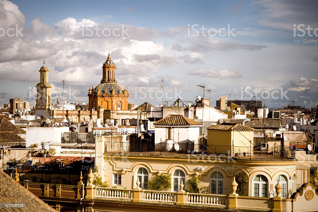 Bright cityscape of the city of Seville in Spain royalty-free stock photo