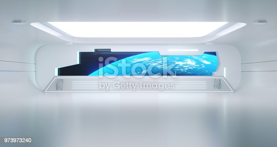 967676748istockphoto Bright Clean Futuristic Sci-Fi Space Ship Corridor With Earth View.3d Rendering. Elements of this image furnished by NASA 973973240