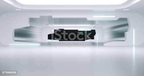 967676748istockphoto Bright Clean Futuristic Sci-Fi Space Ship Room With Reflections. 3d Rendering 973966836