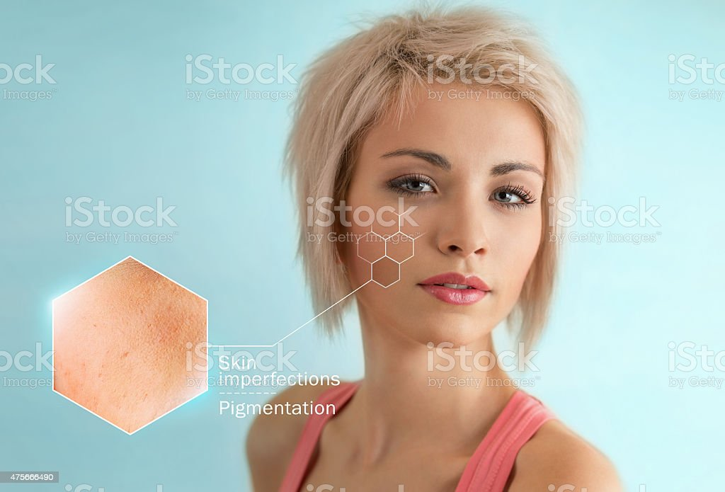 Bright closeup portrait of beautiful woman with skin crops stock photo