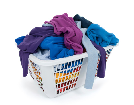 Bright Clothes In Laundry Basket Blue Indigo Purple Stock Photo - Download Image Now