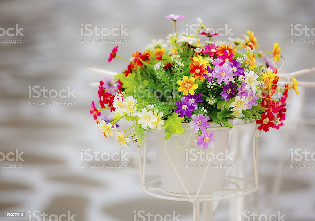 Bright color artificial flowers royalty-free stock photo
