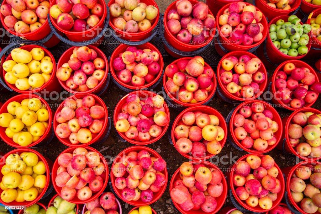 Brillante color de las manzanas en cubos - Foto de stock de Agricultura libre de derechos